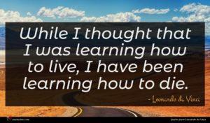Leonardo da Vinci quote : While I thought that ...