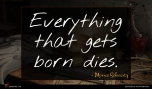Morrie Schwartz quote : Everything that gets born ...
