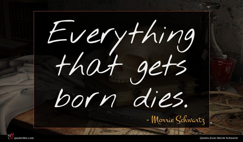 Everything that gets born dies.