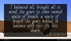William Butler Yeats quote : I balanced all brought ...