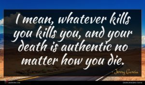 Jerry Garcia quote : I mean whatever kills ...