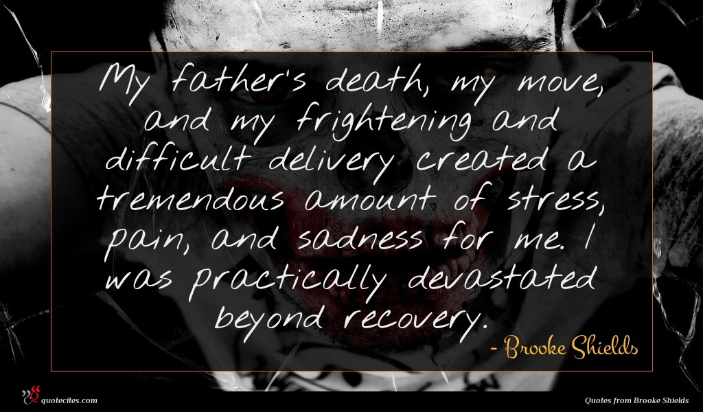 My father's death, my move, and my frightening and difficult delivery created a tremendous amount of stress, pain, and sadness for me. I was practically devastated beyond recovery.