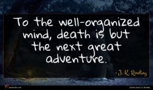 J. K. Rowling quote : To the well-organized mind ...