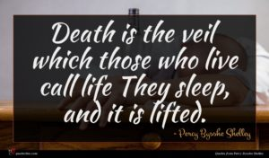 Percy Bysshe Shelley quote : Death is the veil ...