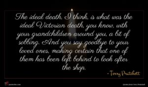 Terry Pratchett quote : The ideal death I ...