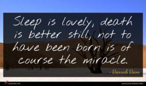 Heinrich Heine quote : Sleep is lovely death ...