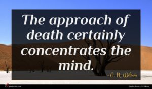 A. N. Wilson quote : The approach of death ...