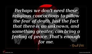 Brad Pitt quote : Perhaps we don't need ...