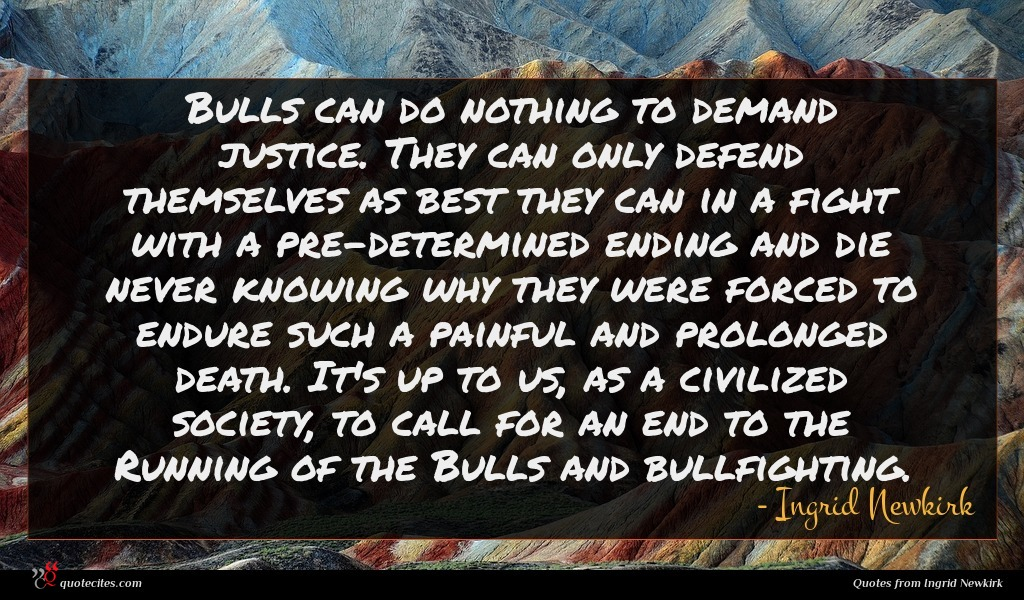 Bulls can do nothing to demand justice. They can only defend themselves as best they can in a fight with a pre-determined ending and die never knowing why they were forced to endure such a painful and prolonged death. It's up to us, as a civilized society, to call for an end to the Running of the Bulls and bullfighting.