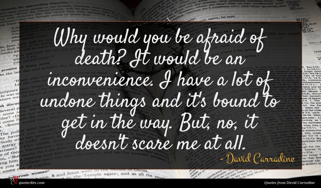 Why would you be afraid of death? It would be an inconvenience. I have a lot of undone things and it's bound to get in the way. But, no, it doesn't scare me at all.