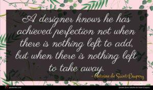 Antoine de Saint-Exupery quote : A designer knows he ...