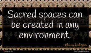 Christy Turlington quote : Sacred spaces can be ...