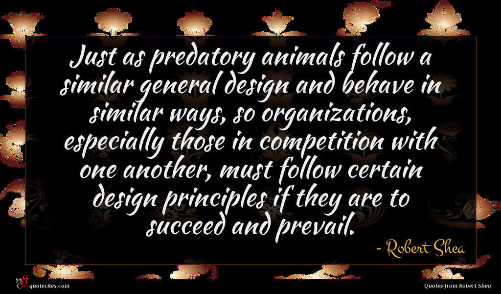 Just as predatory animals follow a similar general design and behave in similar ways, so organizations, especially those in competition with one another, must follow certain design principles if they are to succeed and prevail.