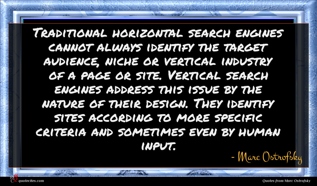Traditional horizontal search engines cannot always identify the target audience, niche or vertical industry of a page or site. Vertical search engines address this issue by the nature of their design. They identify sites according to more specific criteria and sometimes even by human input.
