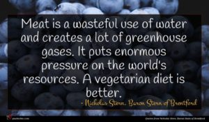 Nicholas Stern, Baron Stern of Brentford quote : Meat is a wasteful ...
