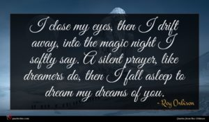 Roy Orbison quote : I close my eyes ...