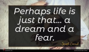 Joseph Conrad quote : Perhaps life is just ...