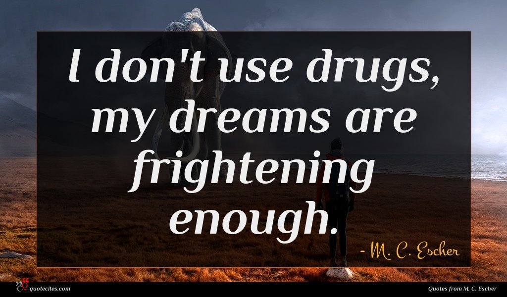 I don't use drugs, my dreams are frightening enough.