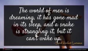 David Herbert Lawrence quote : The world of men ...