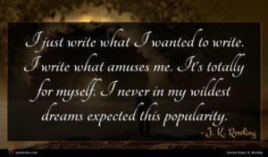 J. K. Rowling quote : I just write what ...