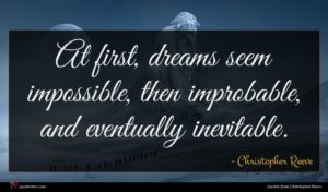 Christopher Reeve quote : At first dreams seem ...