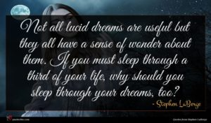 Stephen LaBerge quote : Not all lucid dreams ...