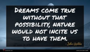 John Updike quote : Dreams come true without ...
