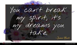James Blunt quote : You can't break my ...