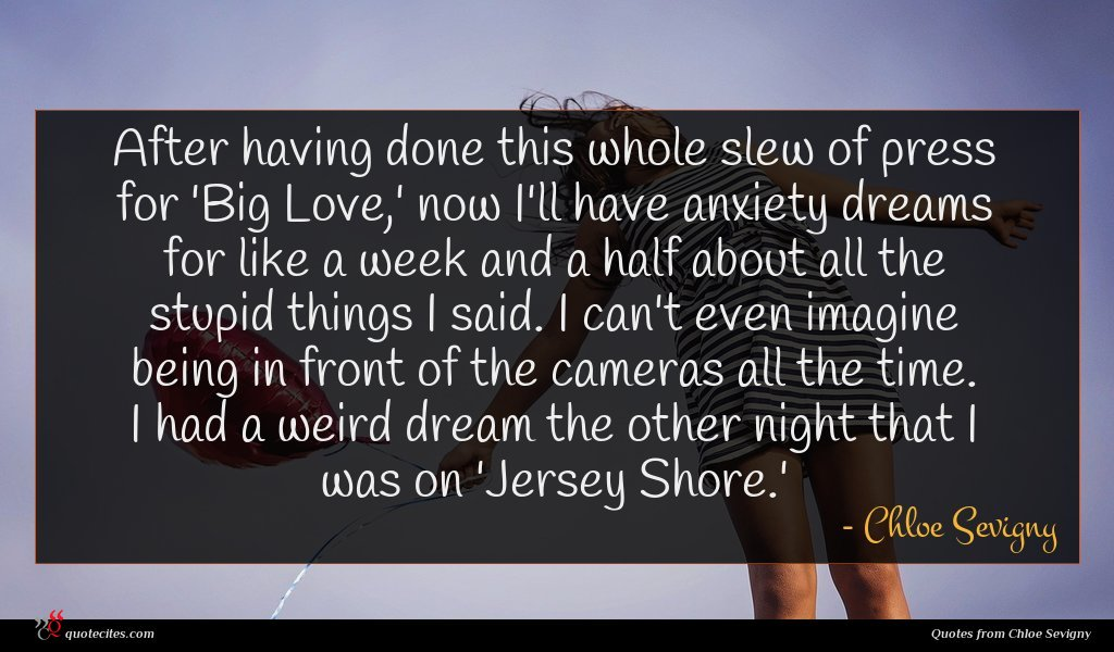 After having done this whole slew of press for 'Big Love,' now I'll have anxiety dreams for like a week and a half about all the stupid things I said. I can't even imagine being in front of the cameras all the time. I had a weird dream the other night that I was on 'Jersey Shore.'