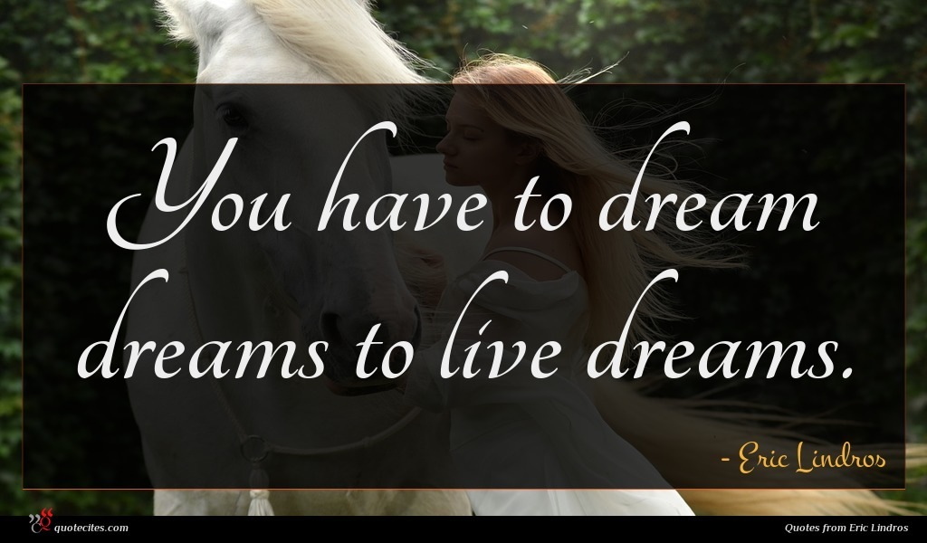 You have to dream dreams to live dreams.
