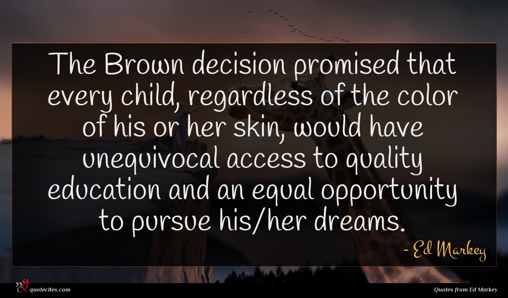 The Brown decision promised that every child, regardless of the color of his or her skin, would have unequivocal access to quality education and an equal opportunity to pursue his/her dreams.