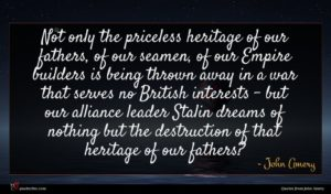 John Amery quote : Not only the priceless ...