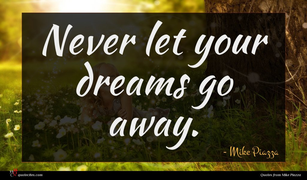 Never let your dreams go away.
