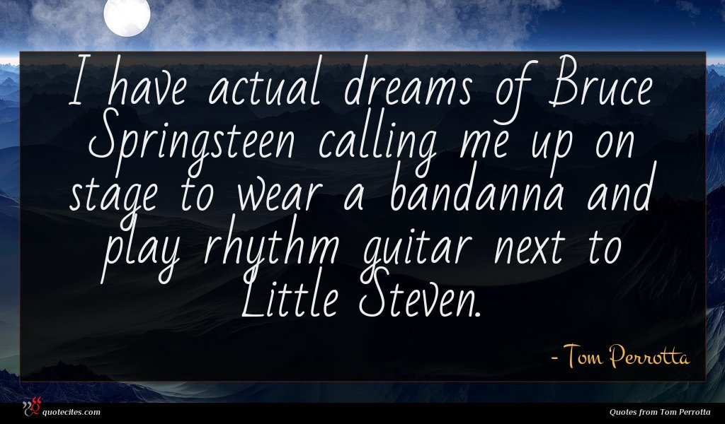 I have actual dreams of Bruce Springsteen calling me up on stage to wear a bandanna and play rhythm guitar next to Little Steven.