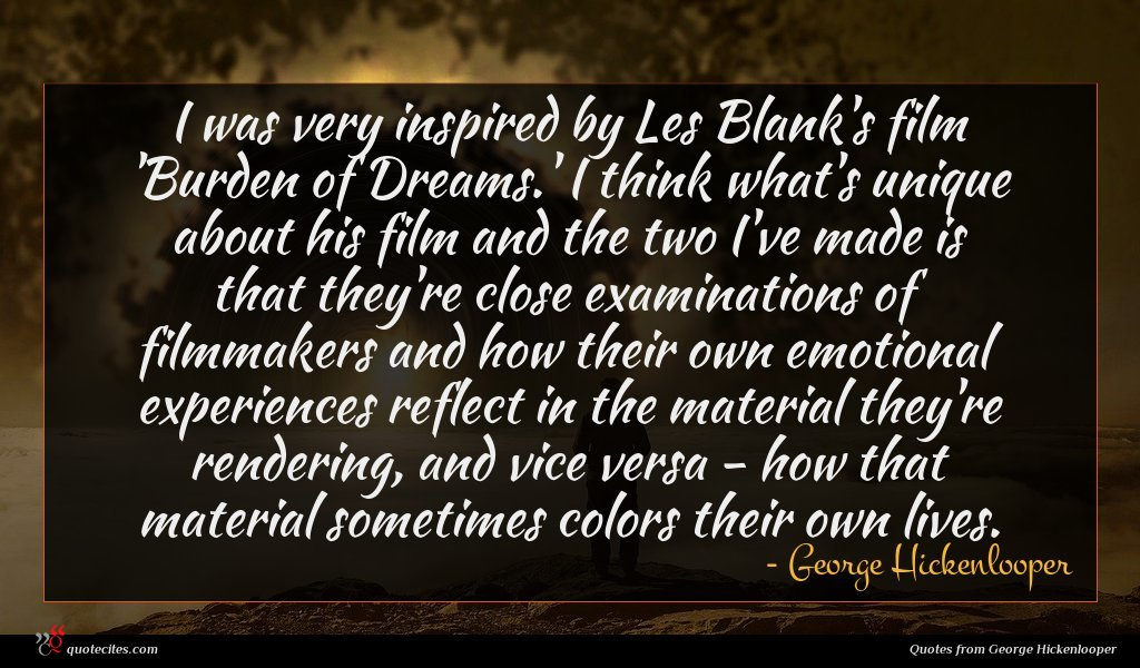 I was very inspired by Les Blank's film 'Burden of Dreams.' I think what's unique about his film and the two I've made is that they're close examinations of filmmakers and how their own emotional experiences reflect in the material they're rendering, and vice versa - how that material sometimes colors their own lives.