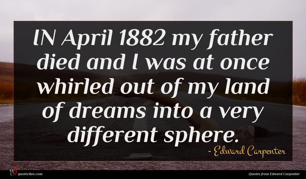 IN April 1882 my father died and I was at once whirled out of my land of dreams into a very different sphere.
