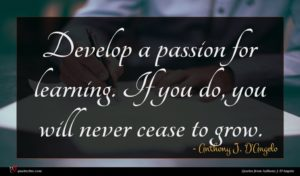 Anthony J. D'Angelo quote : Develop a passion for ...