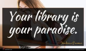 Desiderius Erasmus quote : Your library is your ...