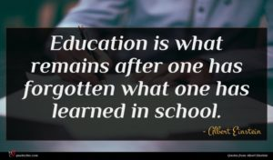 Albert Einstein quote : Education is what remains ...