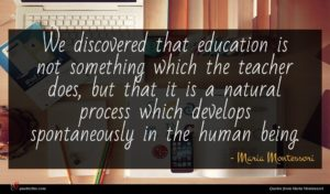 Maria Montessori quote : We discovered that education ...