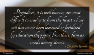 Charlotte Bronte quote : Prejudices it is well ...