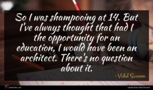 Vidal Sassoon quote : So I was shampooing ...