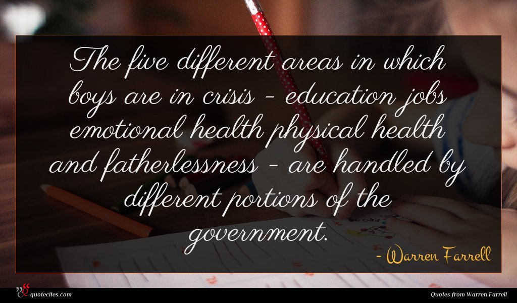 The five different areas in which boys are in crisis - education jobs emotional health physical health and fatherlessness - are handled by different portions of the government.