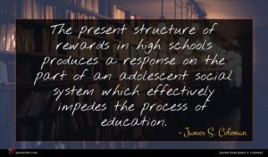 James S. Coleman quote : The present structure of ...