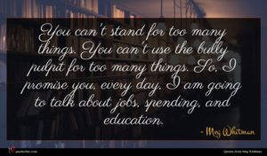 Meg Whitman quote : You can't stand for ...