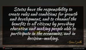 Anna Lindh quote : States have the responsibility ...