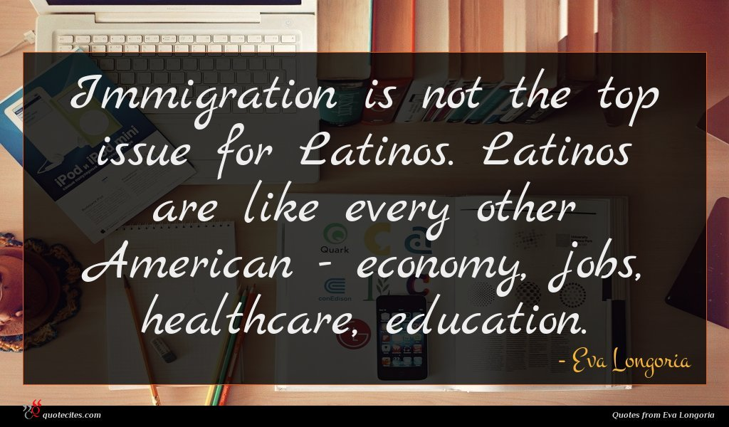 Immigration is not the top issue for Latinos. Latinos are like every other American - economy, jobs, healthcare, education.