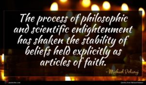 Michael Polanyi quote : The process of philosophic ...