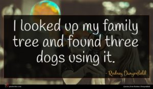 Rodney Dangerfield quote : I looked up my ...