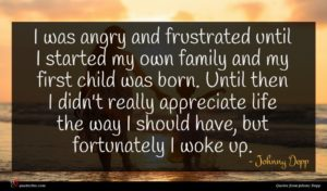 Johnny Depp quote : I was angry and ...